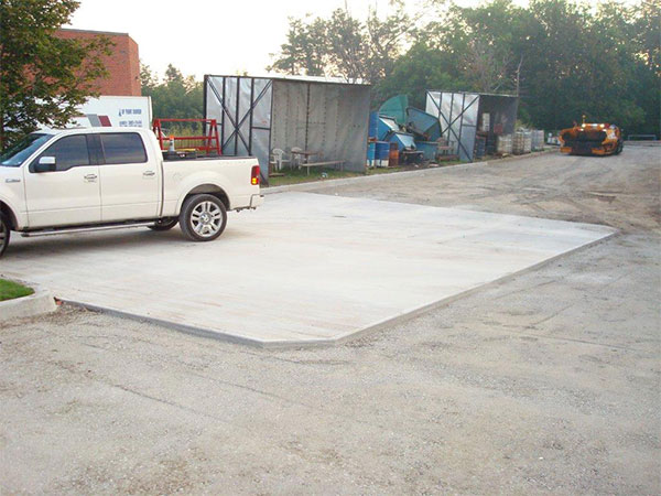 Poured concrete pads